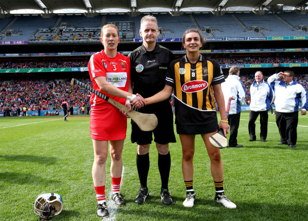 Rena Buckley, Owen Elliott and Anna Farrell at the coin toss
