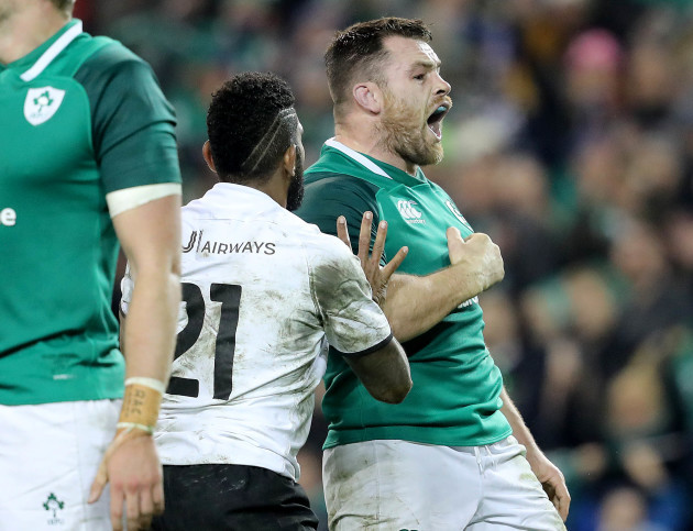 Cian Healy celebrates scoring a try which was disallowed