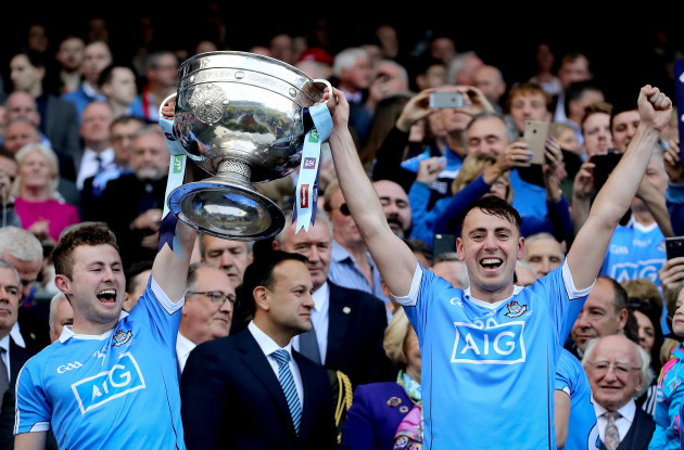 Jack McCaffrey and Cormac Costello lift The Sam Maguire