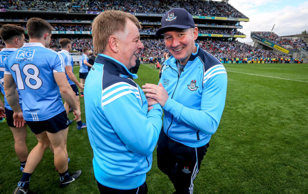 Jim Gavin celebrates with Mick Seavers
