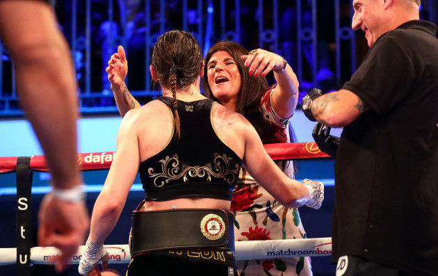 Katie Taylor celebrates with her mother Bridget after the fight