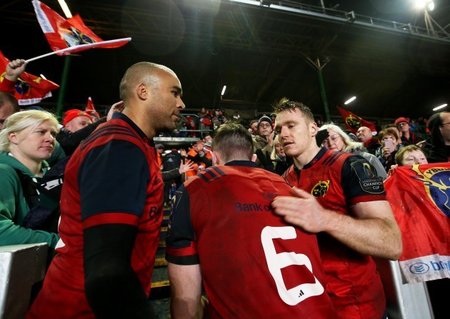 Simon Zebo, Rory Scannell and Peter O'Mahony celebrate after the game 17/12/2017