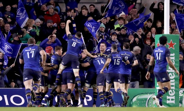 Leinster celebrate scoring a try