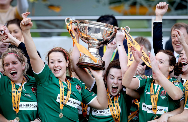 Ciara McNamara lifts The Continental Tyres Women's FAI Senior Cup
