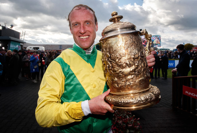 Robbie Power celebrates winning the Coral Punchestown Gold Cup with Sizing John