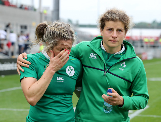 Alison Miller and Jenny Murphy dejected