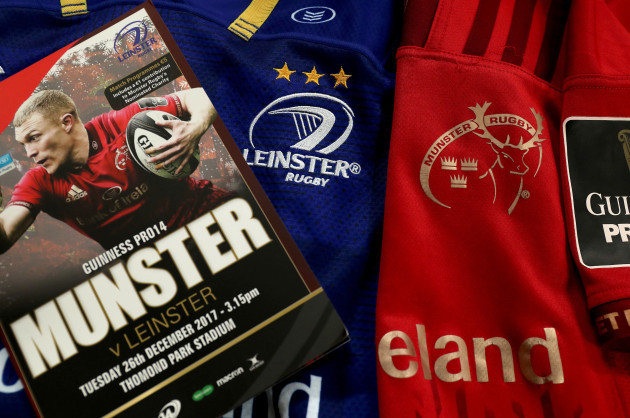 A view of the Leinster and Munster jerseys with the match programme ahead of the game