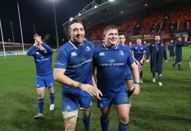 Jack Conan with Tadhg Furlong celebrate winning