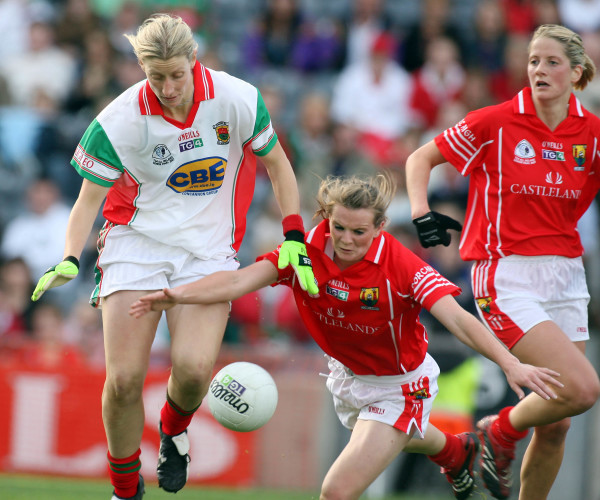 Cora Staunton tackled by Briege Corkery