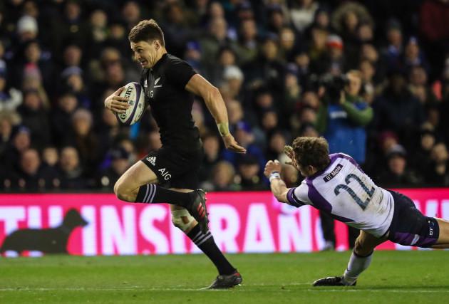 New Zealand All Blacks Beauden Barrett scores a try