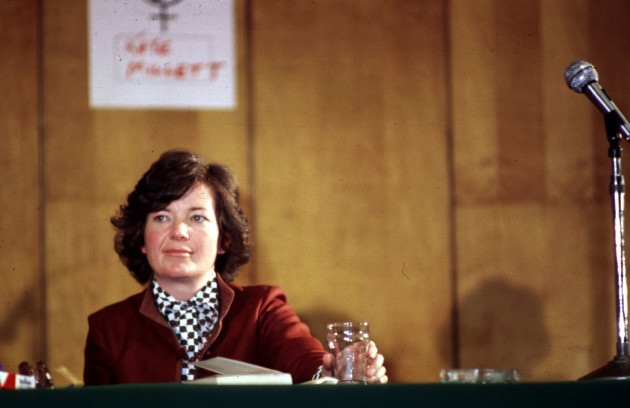 BARRISTER MARY ROBINSON IN LIBERTY HALL DUBLIN.14/10/80.PIC PHOTOCALL IRELAND