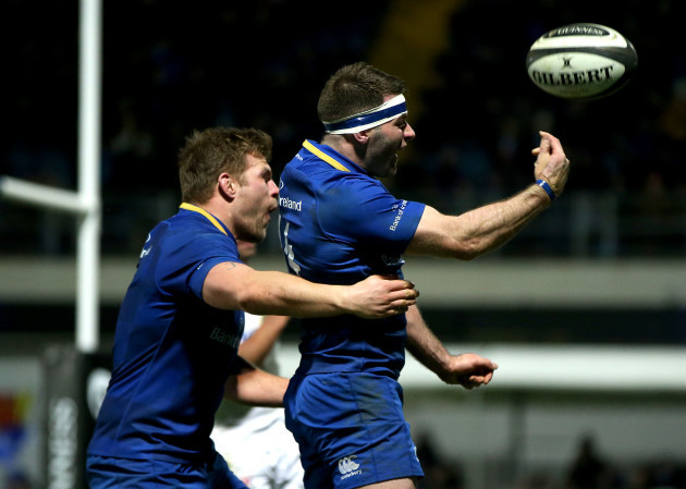 Jordi Murphy and Fergus McFadden celebrates scoring a try