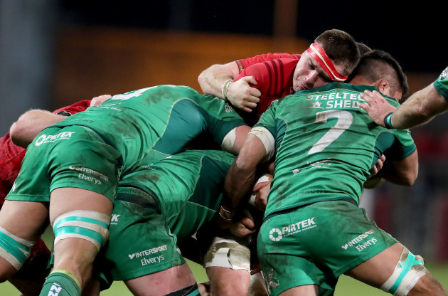 CJ Stander loses the ball to Cillian Gallagher, Quinn Roux and Jarrad Butler