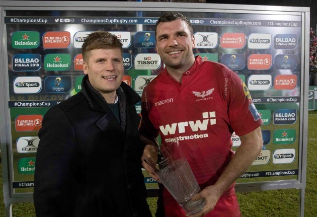 Seb Benton presents the Man of the Match award to Tadhg Beirne