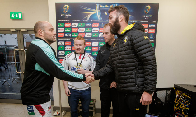 Rory Best, Wayne Barnes and Jason Eaton with coin toss winner Sean McNally