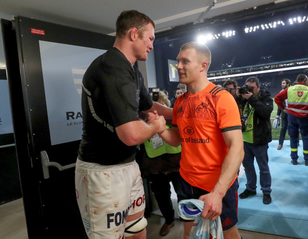 Donnacha Ryan and Keith Earls swap jerseys after the game