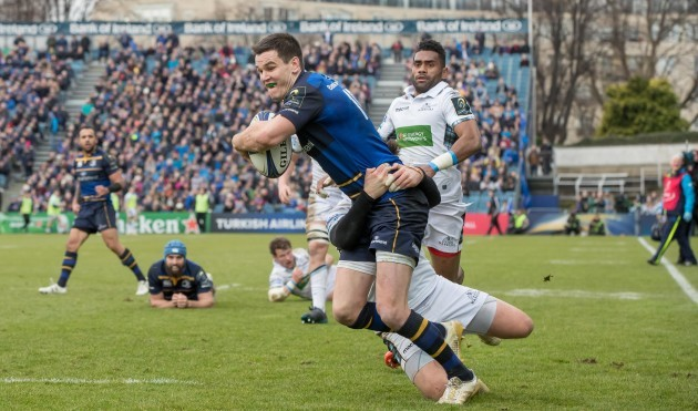 Johnny Sexton on his way to scoring a try