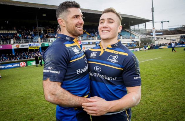 Rob Kearney and Jordan Larmour celebrate