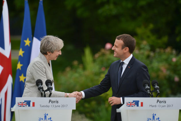 Emmanuel Macron hosts Theresa May in Paris for hard talks on Brexit