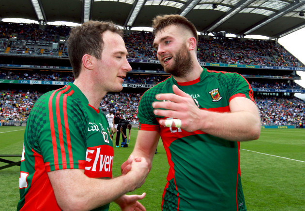 Aidan O'Shea and Alan Dillon celebrate at the final whistle