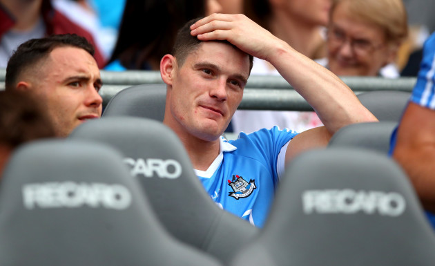 Diarmuid Connolly looks on as the team parade
