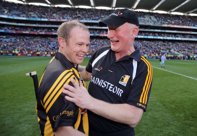Brian Cody celebrates with Tommy Walsh