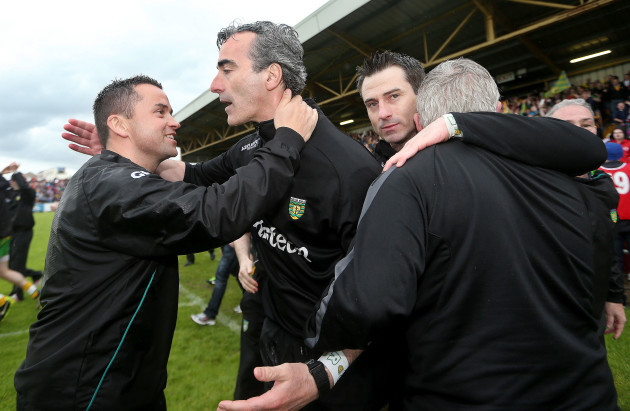 Maxi Curran and Jim McGuinness celebrate
