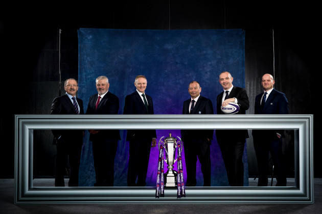 Jacques Brunel, Warren Gatland, Joe Schmidt, Eddie Jones, Conor O'Shea and Gregor Townsend
