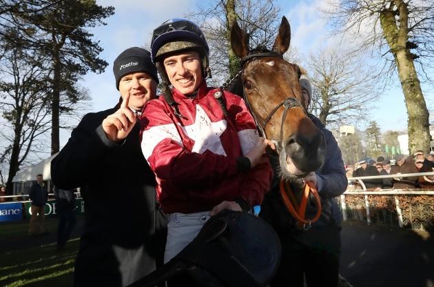 Jack Kennedy onboard Monbeg Notorious celebrates winning with Gordon Elliott