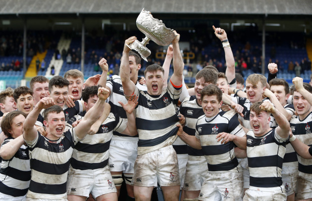 Max Kearney lifts the Leinster Schools Senior Cup