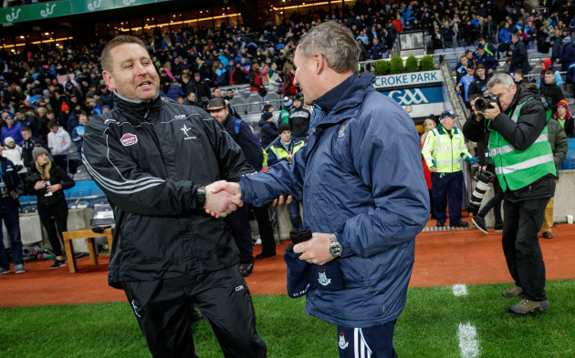 Cian O'Neill and Jim Gavin shake hands after the game
