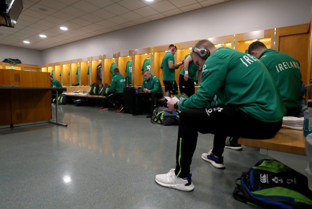 Dan Leavy and Keith Earls in the changing room before the game