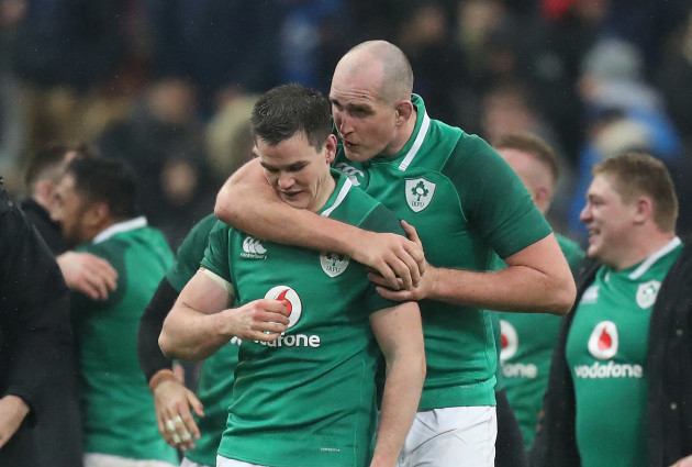Jonathan Sexton celebrates kicking a drop goal to win the game with Devin Toner
