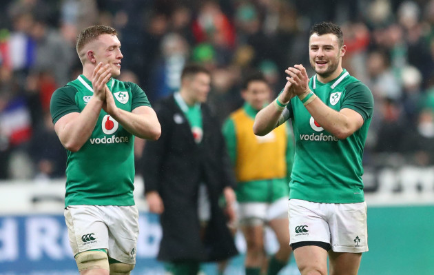 Dan Leavy and Robbie Henshaw celebrate