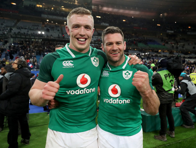 Dan Leavy and Fergus McFadden celebrate after the game
