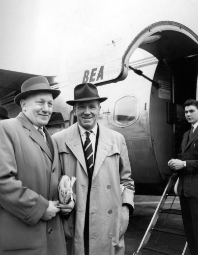 Soccer - Bert Whalley and Matt Busby - Ringway Airport, Manchester