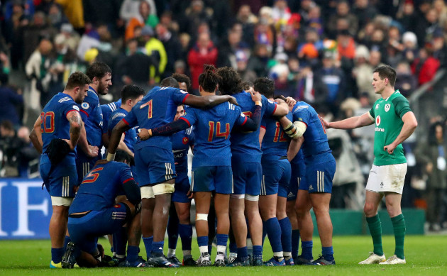 Johnny Sexton consoles the French team