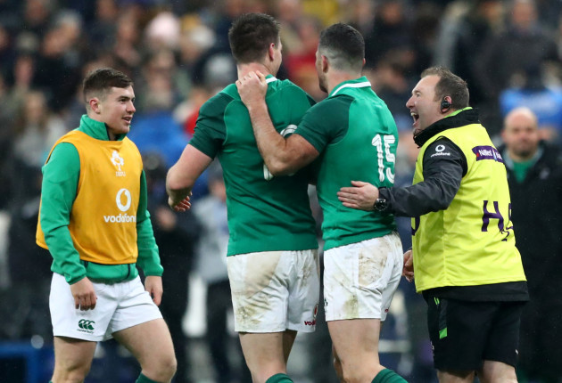 Johnny Sexton, Rob Kearney and kicking coach Richie Murphy celebrate