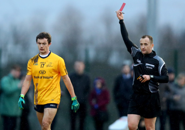 Ciaran Boylan red carded by referee Brendan Cawley
