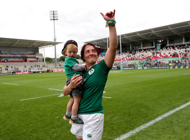 Lindsay Peat with her son Barra after the game
