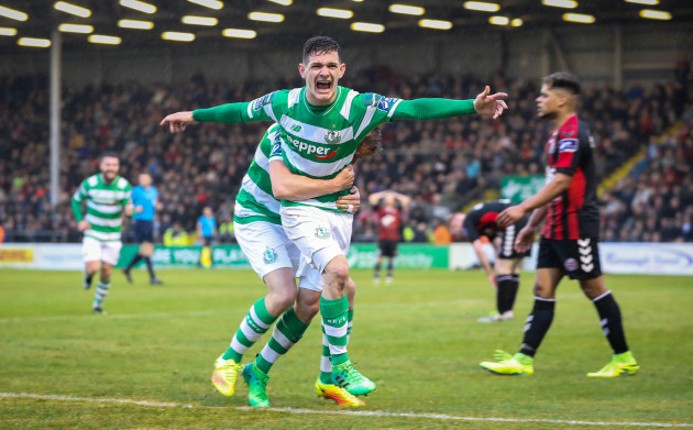 Trevor Clarke celebrates scoring