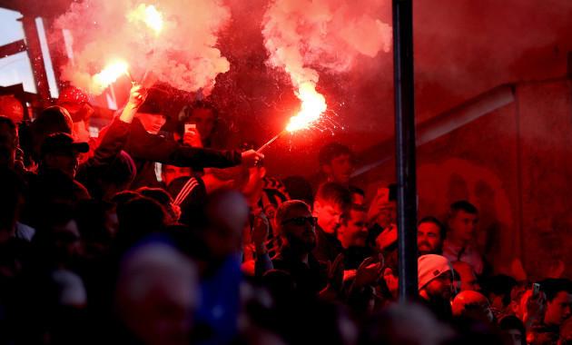 Bohs' fans let off flares