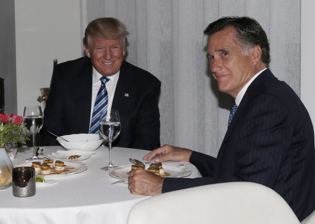 President-elect Donald Trump and Mitt Romne at Dinner