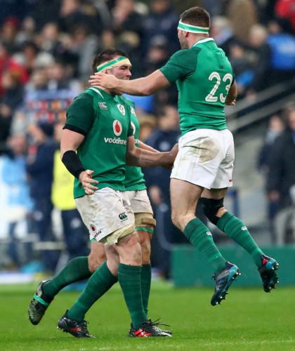 Peter O'Mahony and Fergus McFadden celebrate