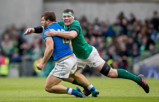 Peter O'Mahony with Tommaso Castello