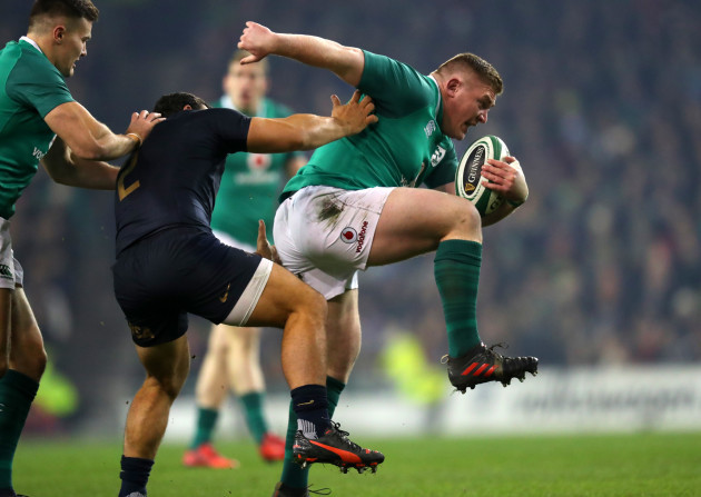 Tadhg Furlong gets past Agustin Creevy