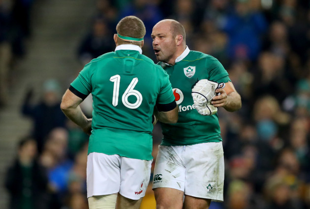 Rory Best encourages Sean Cronin as he comes on as a replacement