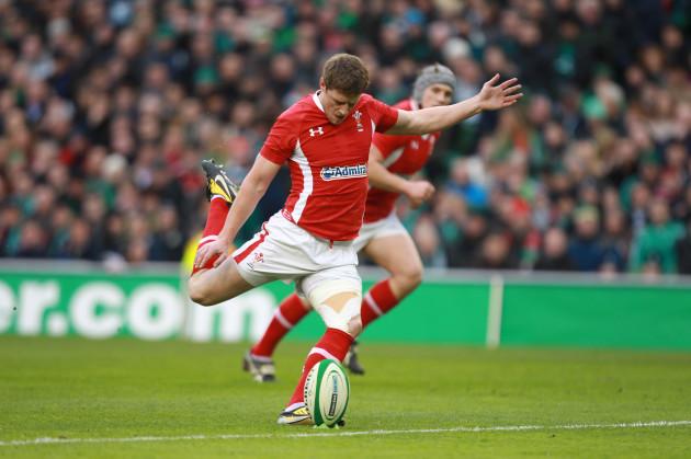 Rhys Priestland Wales kicks a penalty