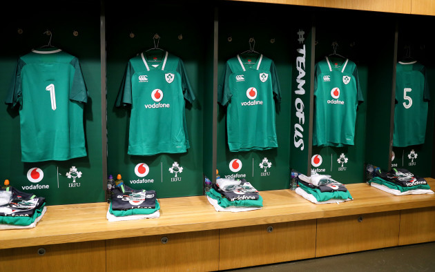 A view of the Ireland dressing room ahead of the game