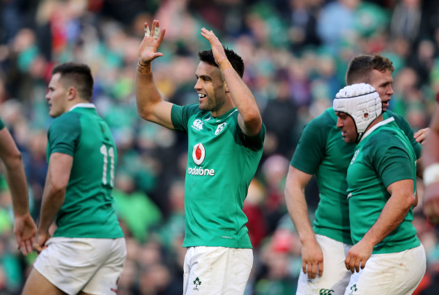 Conor Murray celebrates Dan Leavy's try